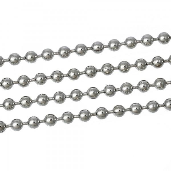 1m Kugelkette 3,2mm (2,48€ pro m) antiksilber Kugel Ball Gliederkette Verbinder
