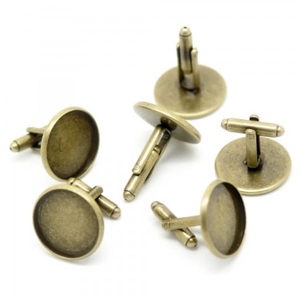2 Manschettenknöpfe 22x26mm 20mm Fläche silber bronze cufflink Rohling einkleben