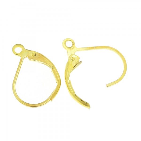 10x Klappbrisur 10x16mm silber gold kupfer bronze schwarz Ohrfeder Ohrhaken