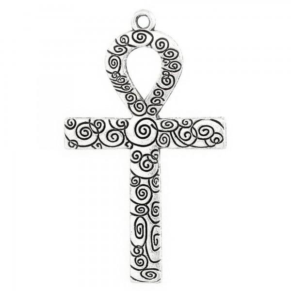 Anch Kreuz Anhänger 49mm Symbol Lebensschleife silber ägyptisch Ankh Gebet cross