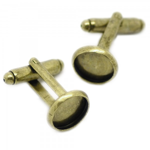 2 Manschettenknöpfe 12x26mm 10mm Fläche silber bronze Rohling cufflink Cabochon