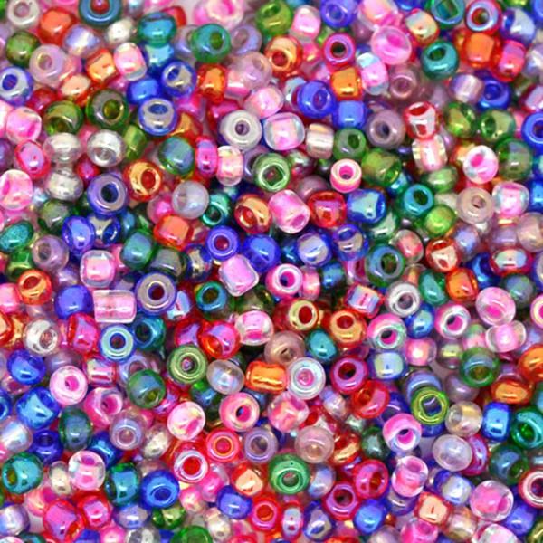 100g ca. 8000 Rocailles (3,94€ pro 100g) 2mm opak Schimmer Saatperle Perlen Mix