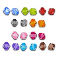 200 Rhomben 8mm Mix bunt Perle facettiert Raute Karo Bicone Kunststoff beads