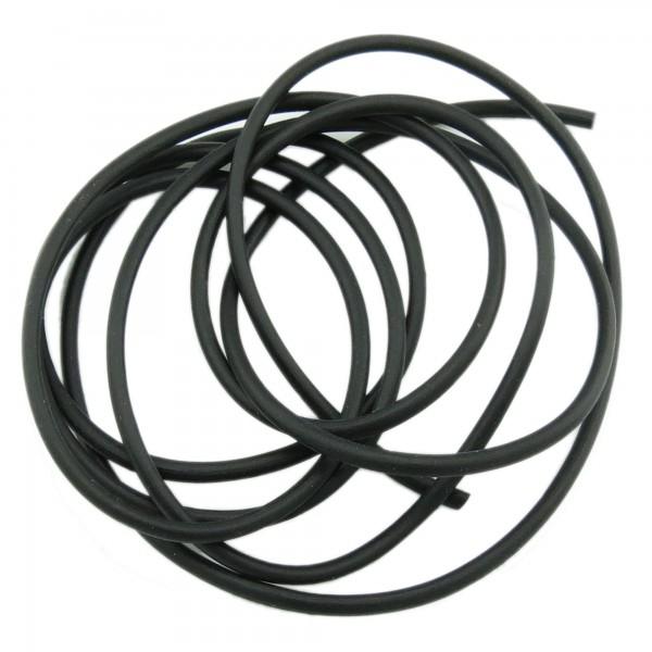1m Kautschuk Band 2mm (1,28€ pro m) schwarz rund Gummi Schmuck Band Schnur Faden