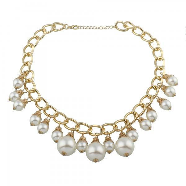 Fashion Kette gold mit großen weißen Highlight Perlen Hochzeit Party pompös