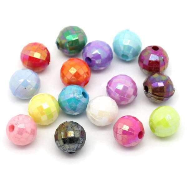 100 Perlen AB Schimmer 7mm facettiert Farben Mix Glitzer Acryl beads faceted