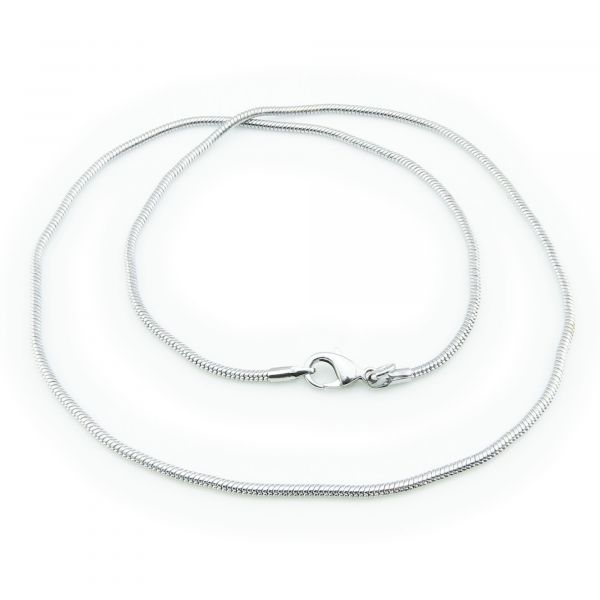 Schlangenkette fein 2mm x 47cm antiksilber mit Karabiner Halskette Kette elegant