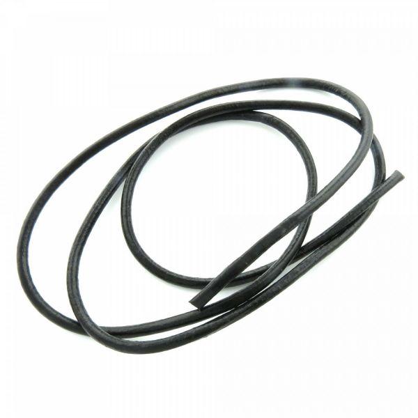 1m Lederschnur 5mm (2,75€ pro m) schwarz echt rund Leder Riemen Band Schmuckband