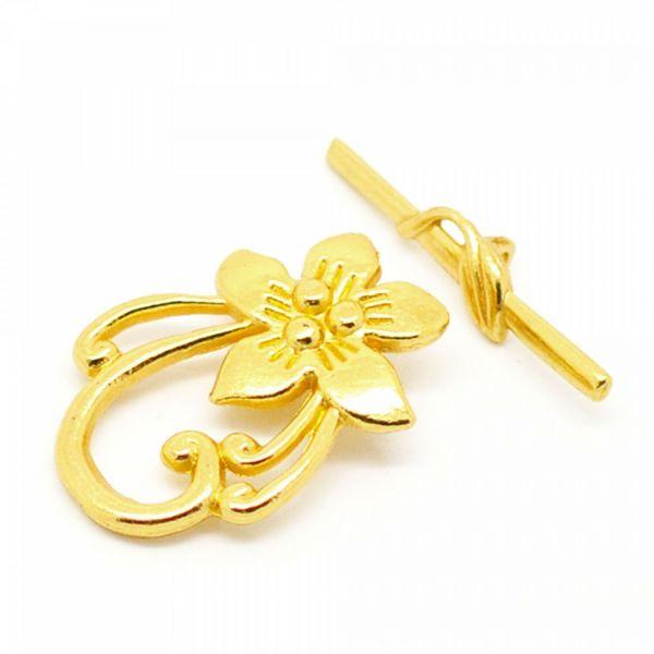 10 Blumen Toggle Verschlüsse 30mm gold XL Knebel Verschluss Schließe