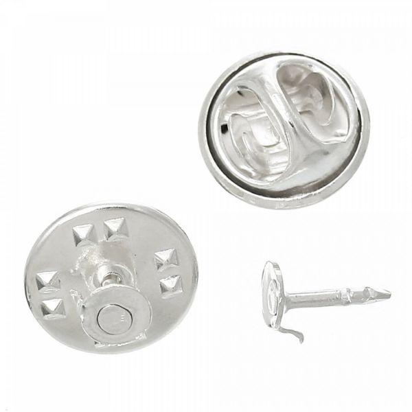10 Ansteck Pin Rohlinge Klebefläche 4,5mm Brosche Krawattennadel Nadel verzieren