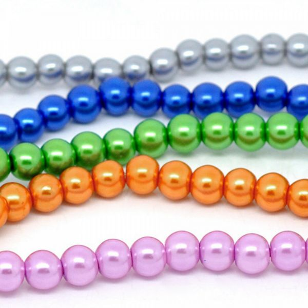 550 Mix Glaswachsperlen 8mm (5 Stränge à 82cm) Kugel Perlen rund Wachsperlen