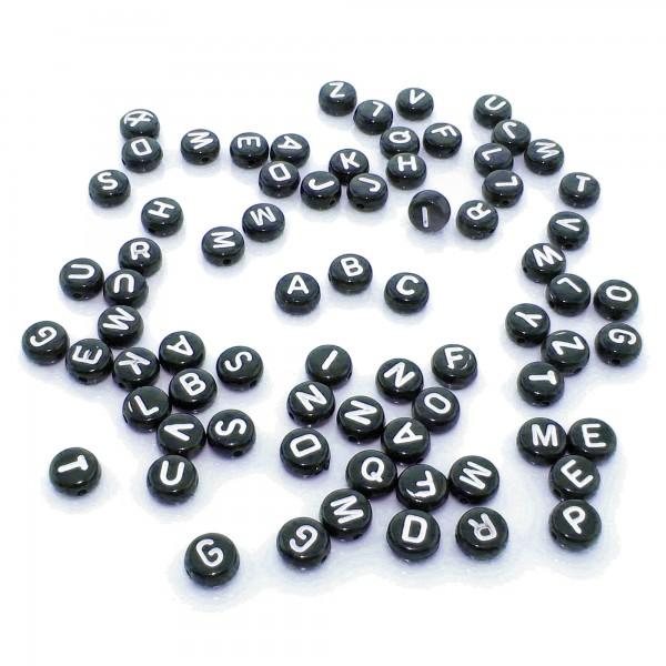 300 Mix Buchstaben Perlen 4x7mm weiß schwarz Alphabet ABC Namen Buchstabenperlen