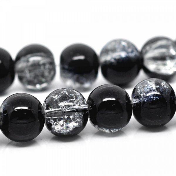 80cm Glasperlen Crackle 10mm schwarz weiß Zerbrochene Crash Perlen Strang Kugel