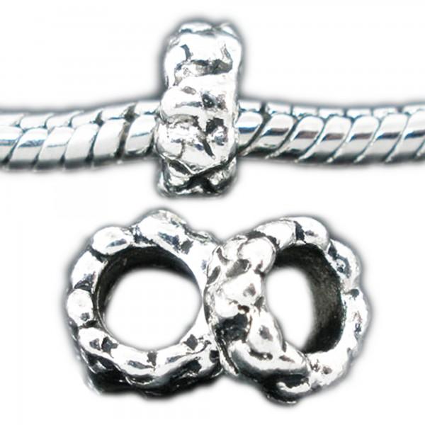 5 European Beads 8x4mm Fädelloch 4,6mm Riffel Muster Perlen silber Modulperlen