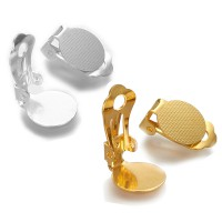 10 Ohrclips 19x12mm silber gold Clip Klebeplatte Ohrklemme Rohling Ohrschmuck