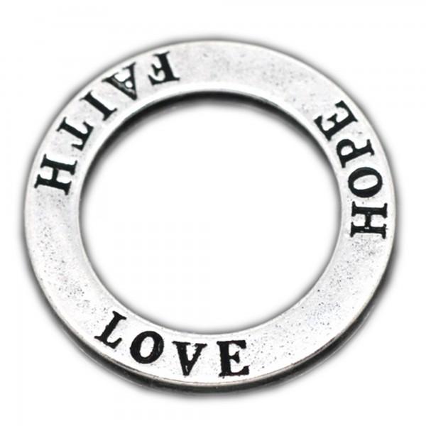 10 Ring Verbinder XL LOVE HOPE FAITH 22mm silber bronze Anhänger charm pendant