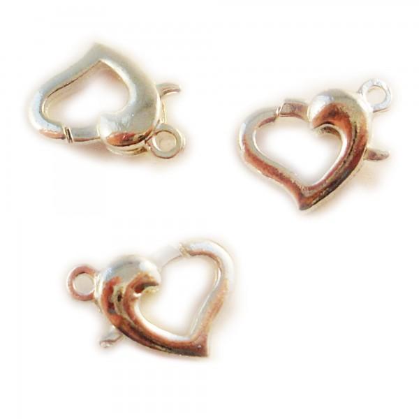 5 Herz Karabiner Verschlüsse 13mm silber gold Herzen Verschluß lobster Schließe