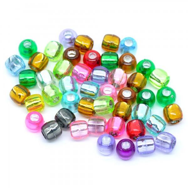 30 Silberfolie Perlen 7mm oval bunter Mix Folie Muster Spacer Bead Acryl Design