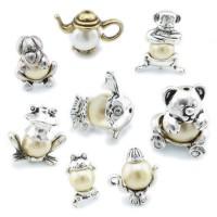 1/4x Perlenkappe Tier Aufsatz Perlen Zierkappen Frosch Teddy Hund Fisch Affe