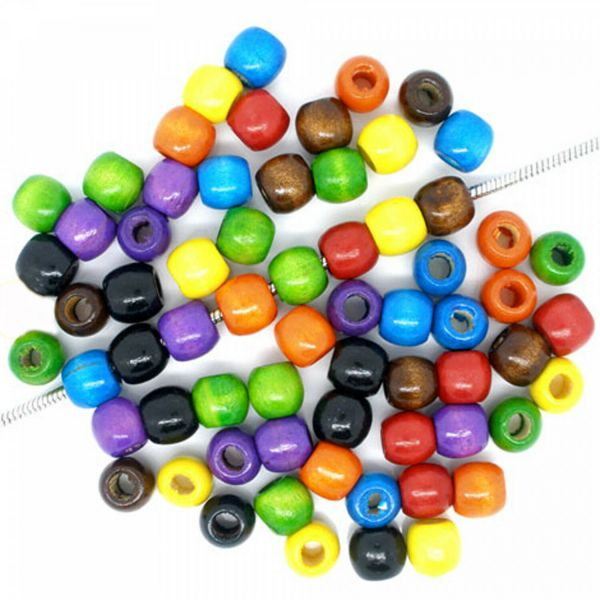 40 Holz European Beads 11x12mm bunt Mix Holzperlen Perlen Bommel Schmuck basteln