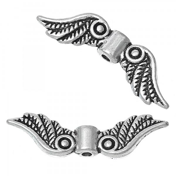 10 Flügel Zwischenperlen 23x7mm Engelchen basteln Glücksbringer Schutzengel wing