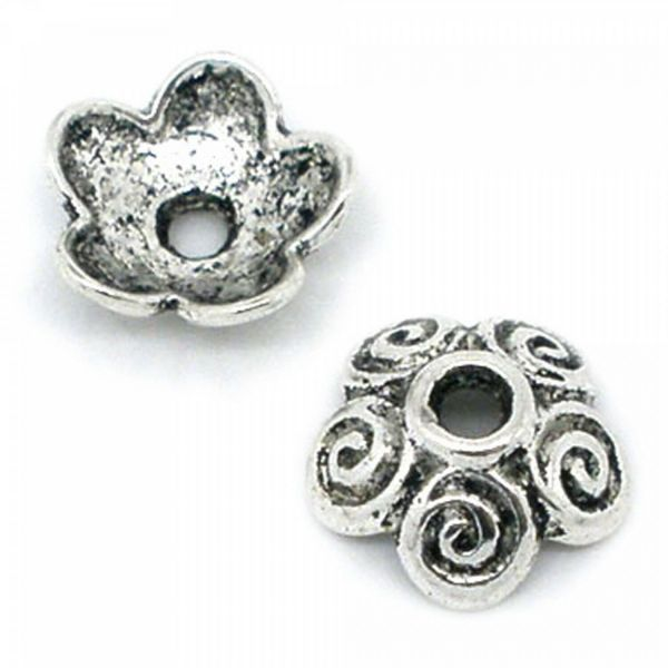20 Perlenkappen 4x10mm silber bronze gold für 12-18mm Perlen Zierkappe Perlkappe
