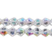 50 Glasperlen AB Schimmer 6mm 30cm Strang crystal Kristall Glasschliff Perlen