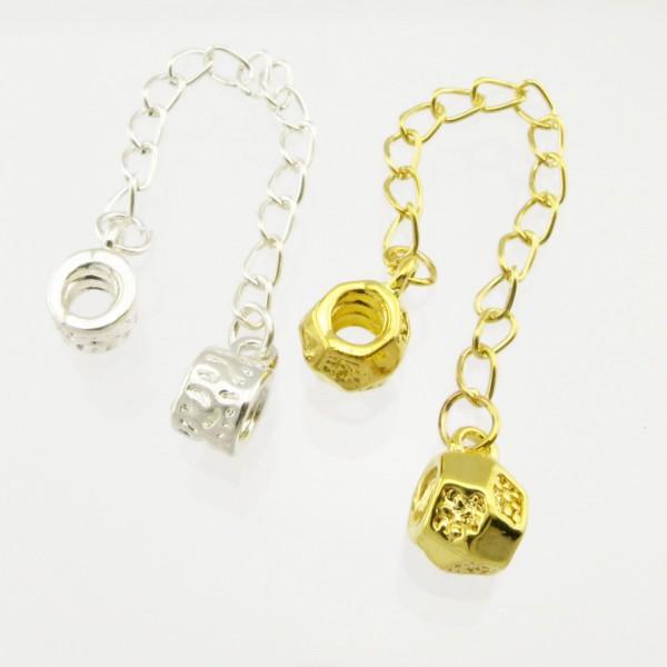 Sicherheitskette 9cm silber gold für European Beads Kette als Stopper Sicherung
