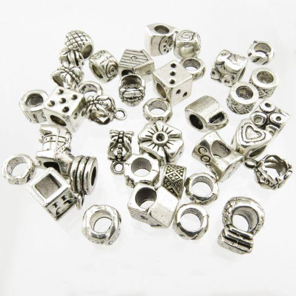 40 European Beads Motiv Mix silber Zwischenperlen Metall Spacer Perlen