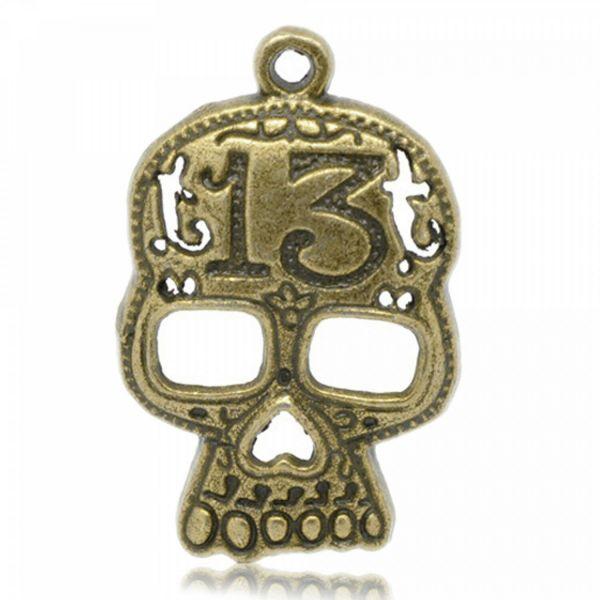 Anhänger XL 31-42mm Totenkopf Skull Skelett Hand Gothic silber bronze Schmuck