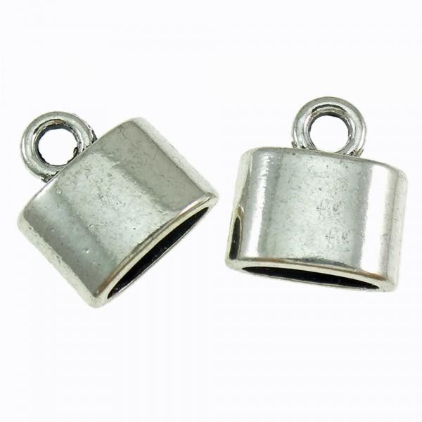 10 Endkappen flach 10x11,5mm für 3x7,5mm Band silber Endstücke Endteile kleben