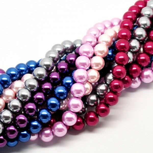 420 Glaswachsperlen 12mm (6 Stränge 80cm) Mix Kugel rund Glas Wachs Perlen Paket