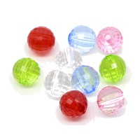 200 fein facettierte Perlen 8mm Farben Mix Kunststoff Acryl faceted Spacer Beads