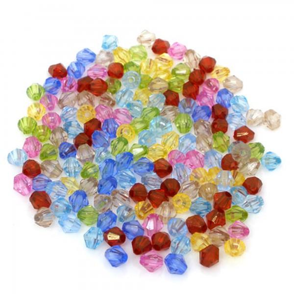 200 Rhomben 6mm Mix Kunststoff Perlen facettiert Acrylic Bicone Jewelryselfmade
