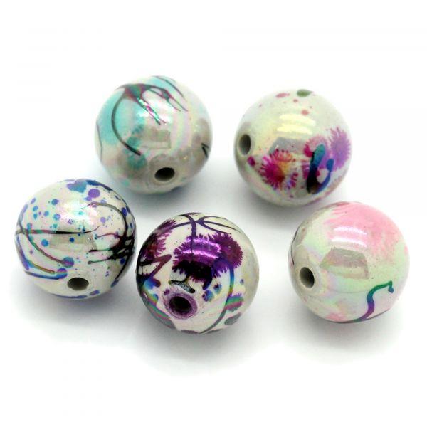 20 Perlen AB Schimmer 12mm mit Drawbench Muster Glitzer Acryl beads Kugel rund