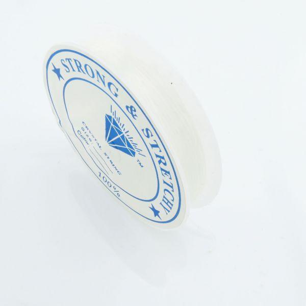 12m Silikon Band 0,4mm (0,19€ pro m) Gummi elastisch Rolle Stretch Schnur weiß