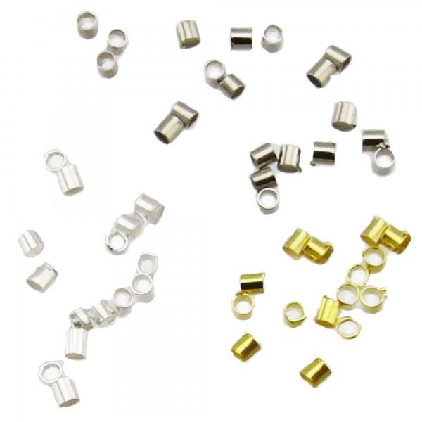 100 Quetschröhrchen 2x2mm Loch 1,8mm silber gold Röhrchen Quetschperlen crimps
