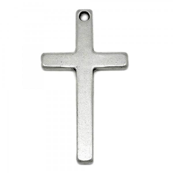 Kreuz Anhänger 52mm XL schlicht silber für Kette Halskette Rosenkranz charm