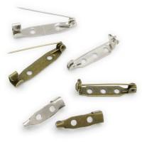 5/50x Brosche 20x5 28x5 oder 31x6 mm silber bronze Broschennadel Ansteck Rohling