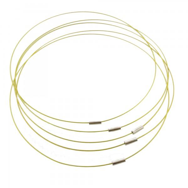 1/5x Halsreif 53cm 1mm silbergrau gold schwarz Collier Edelstahl Kette Halsring