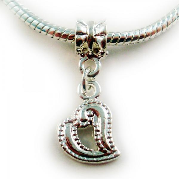 Herz Dangle 28mm silber European Bead Großloch Modulelement Anhänger charm Liebe
