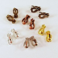 10 Ohrclips 12x6mm silber gold kupfer bronze schwarz Clips mit Öse Ohrklemme