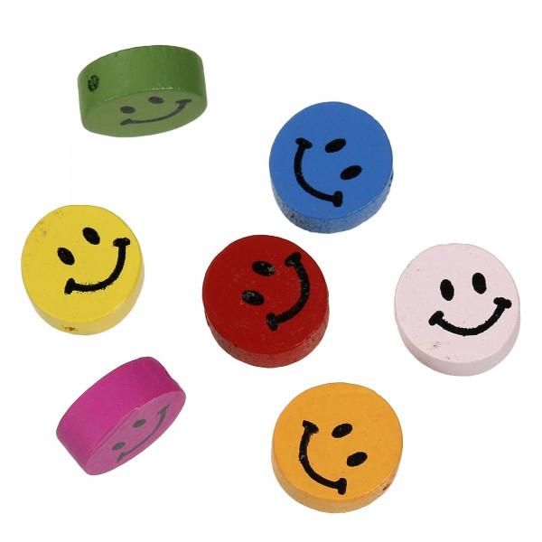 10 Lächel Smiley Holzperlen bunt Mix 16mm Fädelloch 2mm rund Schnullerkette süß