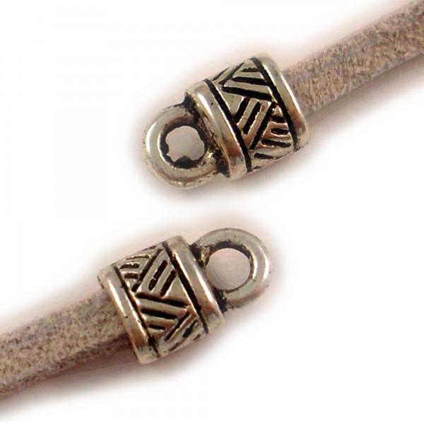 10 Endkappen 9,5x6mm für flaches max. 4,5mm Band Endstücke Ende kleben filigran