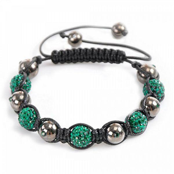 Strass Armband grün schwarz 20-25cm geflochten mit Makramee Knüpftechnik modisch