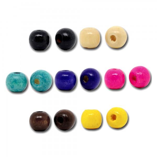 100 Kugel Holzperlen bunt 10x9mm Mix rund Holz Perlen Wood Spacer Bead Kreis