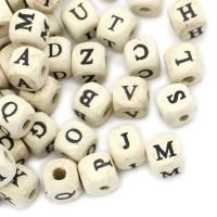 Holz Buchstaben Würfel 10mm 300x Alphabet Mix oder 10x A E I O U Perlen beads