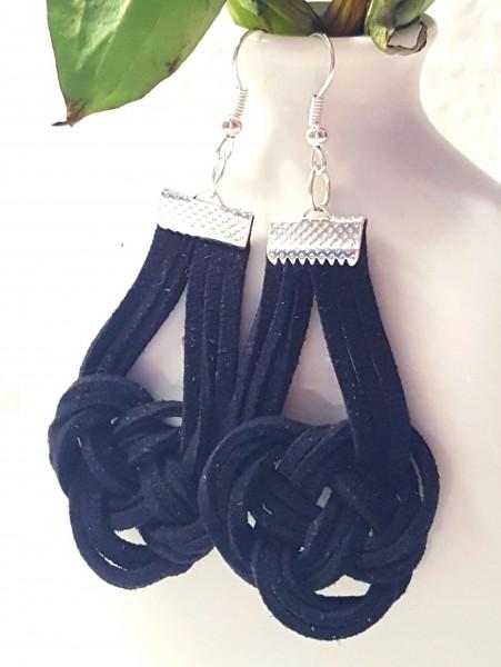 Knoten-Ohrring-schwarz