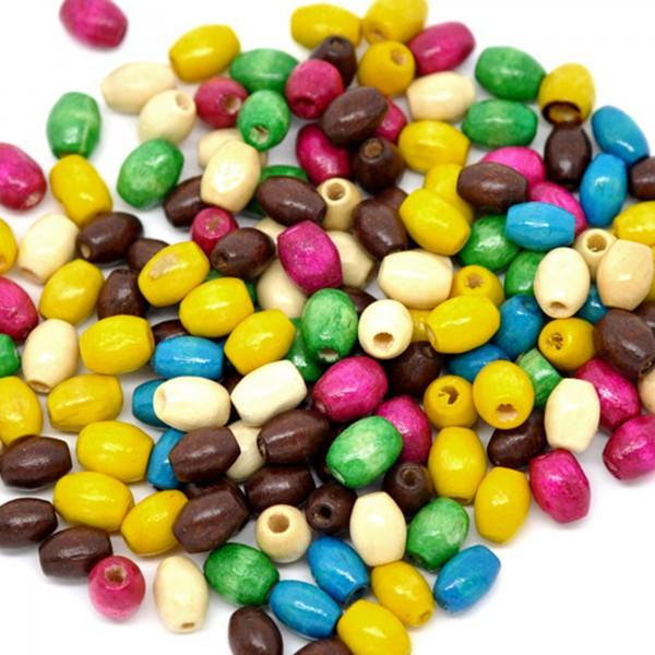200 Holzperlen 6x4mm oval bunt Mix Holz Perlen Schmuck machen Zwischenperlen