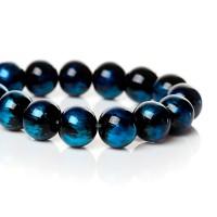 76 Glasperlen schwarz 10mm mit königsblau Schimmer 76cm Strang Perlen Kugel rund